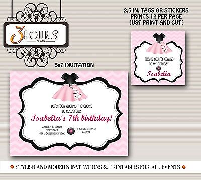 Poodle Skirt Sock Hop Birthday Party Invitations & Favor Tags