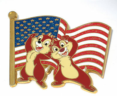 LE 125 Disney Pin✿Chip Dale Patriotic Flag USA 4th July Stars Stripes Old Glory