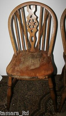 Set of 3 Georgian Revival Elm Wheel Back Dining Chairs - FREE DELIVERY [PL716]