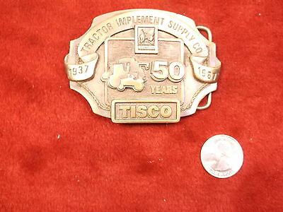 "NICE OLD VTG 1987 SOLID BRASS ""SISKIYOU"" BELT BUCKLE, 50th YEAR TISCO TRACTOR CO"