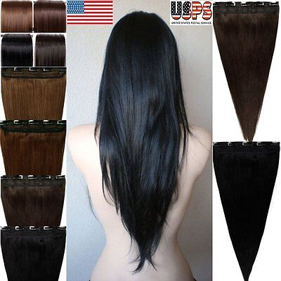 """Brown Black Clip In Real Remy Human Hair Extensions One Piece 18"""" 20"""" 22"""" F783"""