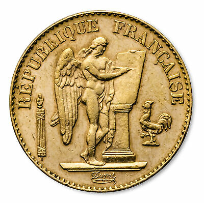 Gold French 20 Franc Coin - Lucky Angel Design - Random Year Coin - SKU #1049