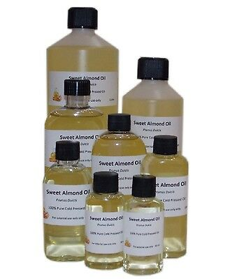 Sweet Almond Oil 100% Pure, Natural, Cold Pressed Carrier Oil, Free UK Shipping