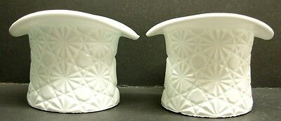 Fenton DAISY BUTTON Pattern Opaque White Milk Glass Top Hat Toothpick Holders 2