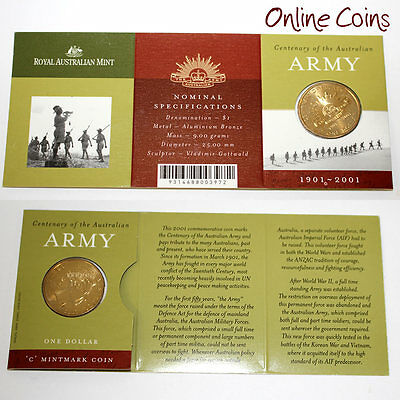 2001 Centenary of The Australian Army 'C' Mint Mark Uncirculated $1 Coin in Card
