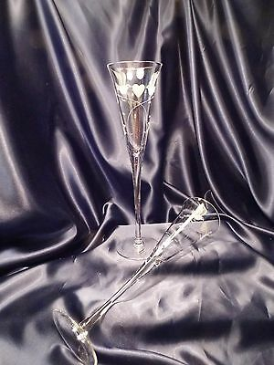 """Artland Wedding toasting champagne flute Hearts and Dove birds set of 2 11.25"""""""