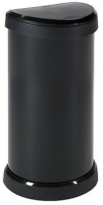 Curver 40 Litre Metal Effect One Touch Deco Bin, Black