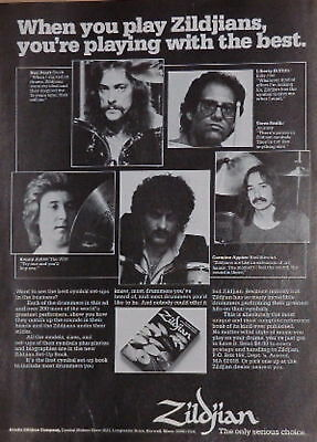 1980 Neil Peart,Kenny Jones,etc play Zildjians print Ad