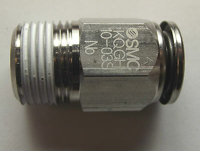 """SMC KQGH10-03S 10mm push-fit to 3/8""""BSP Straight Union,stainless steel, 316"""