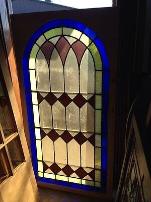 "Sg 131 Antique Arch Stained Glass Window 33.5"" X 63.5"""