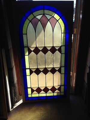 Sg 133 Antique Arch Top Stainglass Window Very Good 33.25 X 63.25 High