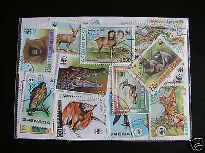 Lot Timbres Animaux Wwf : 25 Timbres Tous Differents / Animals Stamps Wwf