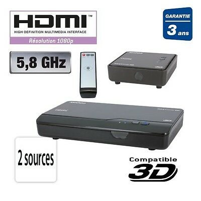 TRANSMETTEUR EMETTEUR AUDIO VIDEO HDMI SANS FIL 5,8GHz 2 CANAUX TV TELE HD 3D