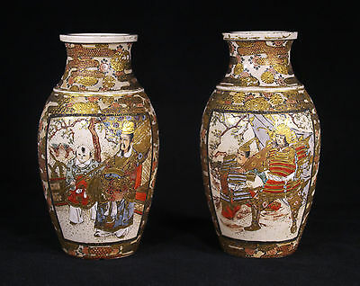 Antique Japanese Hand Painted Samurais Ceramic Gilded Vases Late Meiji