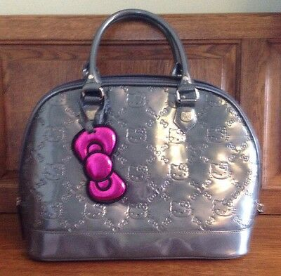 LOUNGEFLY HELLO KITTY SILVER PATENT EMBOSSED TOTE BAG