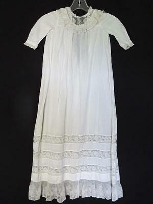 Rare Victorian-Edwardian White Cotton & Lace French Christening Gown For Infant