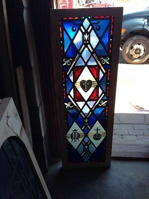 St 148 Antique Painted And Fired Heart Symbol Window