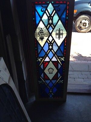 Sg 149 Antique Painted In Fired Stainglass Window Depicting Shell Design