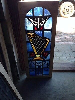Sg 158 Antique Painted In Fired Musical Window Depicting Harp And Holy Spirit