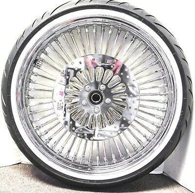 DNA 52 Front Mammoth Spoke White Wall Wheel Tire Rotor Package Harley FLH 00-07