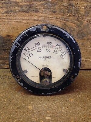 Vintage Weston Amperes Gauge Amperes Meter Model 1534 - Not Tested - Steampunk
