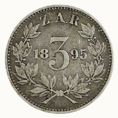 South Africa 1895 3 Three Pence Coin gVF