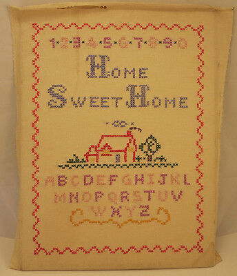 Vintage Cross Stitch Embroidery On Linen Alphabet Sampler Home Sweet Home 12X16""