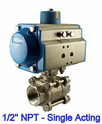 """1/2"""" Inch Pneumatic Air Actuated Stainless 3 Pieces Ball Valve Single Acting NC"""