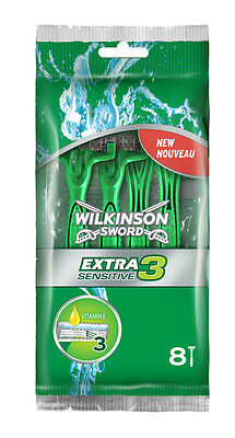 Wilkinson Sword Extra 3 Sensitive Disposable Razors - 8 Pack