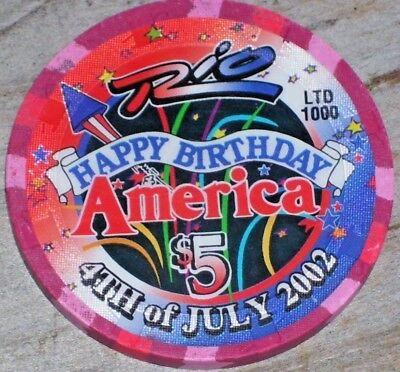 $5 July 4Th 2002 Gaming Chip From The Rio Casino Las Vegas Nv