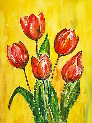 ART PRINT POSTER PAINTING DRAWING DESIGN FLOWERS FLORAL RED TULIPS LFMP0625