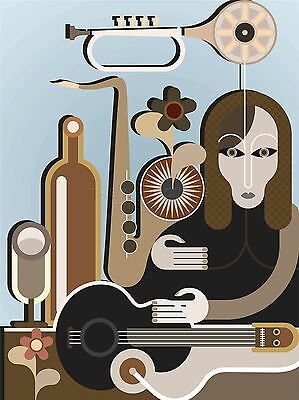ART PRINT POSTER PAINTING DRAWING ABSTRACT MUSIC EQUALISER PATTERN LFMP0909