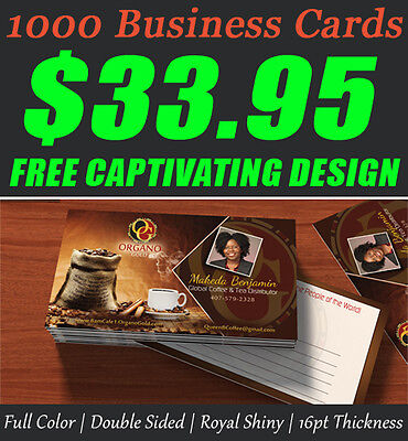 1000 Premium Quality Business Cards + Free Captivating Design + Free Shipping