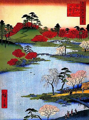 Art Print Poster Painting Japanese Woodblock Colourful Trees River Nofl0792