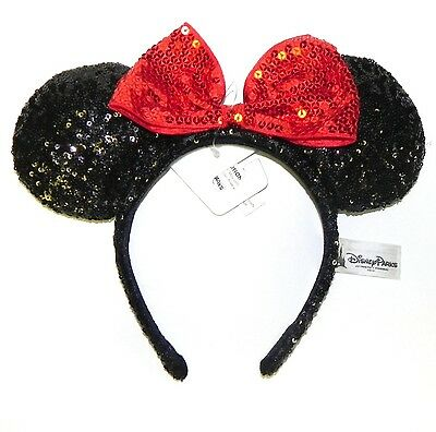 Disney Parks Minnie Mouse Black & Red Ears Sequin Headband Bow NWT sequined