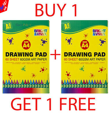 A4 Artist Sketch Drawing Books Pads 60 Sheets 60Gsm Quality New