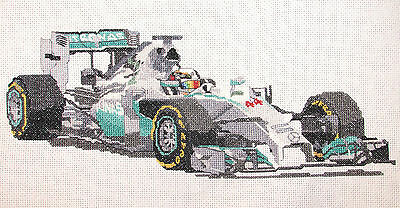 Lewis Hamilton Mercedes 2014 Formula one counted cross stitch kit/chart 14s aida