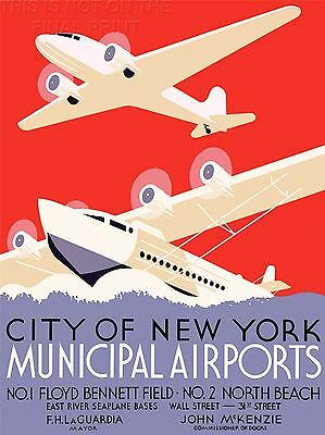 VINTAGE ADVERT TRAVEL TRANSPORT NEW YORK CITY WPA CA FRAMED ART PRINT B12X11591