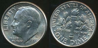 United States, 1993-D Dime, Roosevelt - Uncirculated