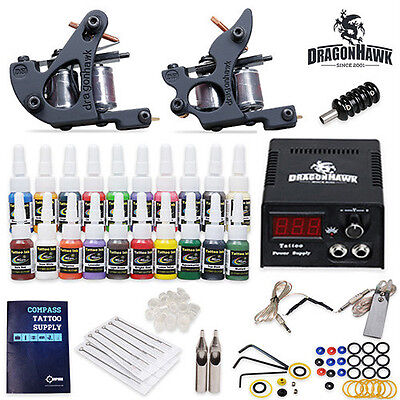Complete Tattoo Kit 2 Machines Gun 20 color Ink Power supply needles HW-9ND