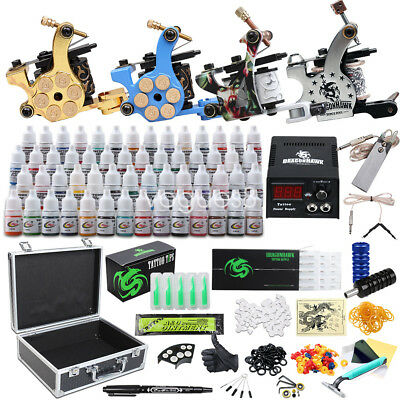 Complete Tattoo Kit needles 6 Machine Guns Power Supply 40 Color Inks D187VD-8