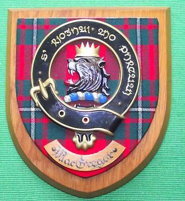 Old Scottish Carved Oak Clan MacGregor Rob Roy Coat  Arms Plaque Crest Shield B