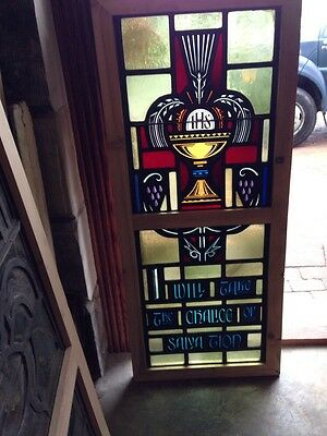 Sg 209 Antique Painted In Fired Religious Chalice Window