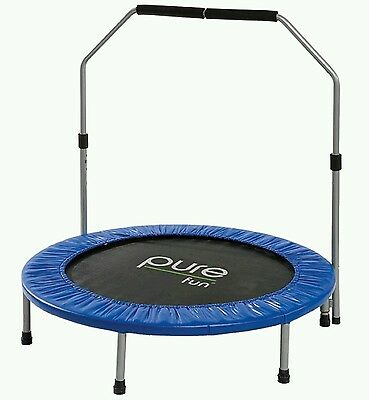 Pure Fun Mini Trampoline with Handrail, Fitness, Excercise, 40-Inch, 9005MTH