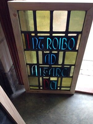 Sg 214 Antique Painted And Fired Stainglass Window European Writing