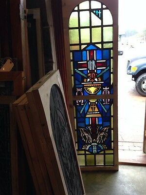 Sg 215 Antique Religious Window With Chalice And Stags