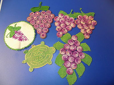 Vintage Hot Pads Bottle Caps Grapes Trivets and Others