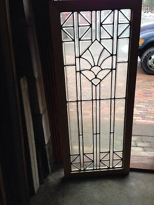 Sg 217 All Beveled Glass Door Panel Or Landing Window Antique