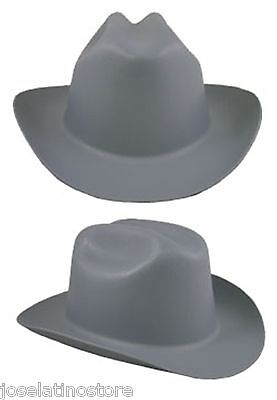 "Outlaw Cowboy Style Safety Hard Hat ""GRAY"" Ratchet Susp ANSI/OSHA Approved!"