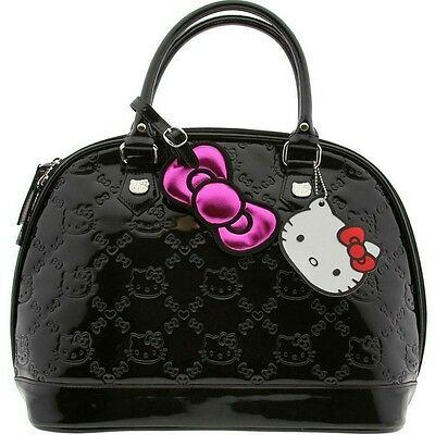 LOUNGEFLY HELLO KITTY  BLACK PATENT EMBOSSED TOTE BAG  ( Brand New )